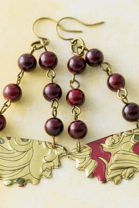 Red and Gold Vintage Tin Earrings with Red Rosary Chain with Dark Red Stone Beads and Antique Brass Findings, Half Circle Earrings