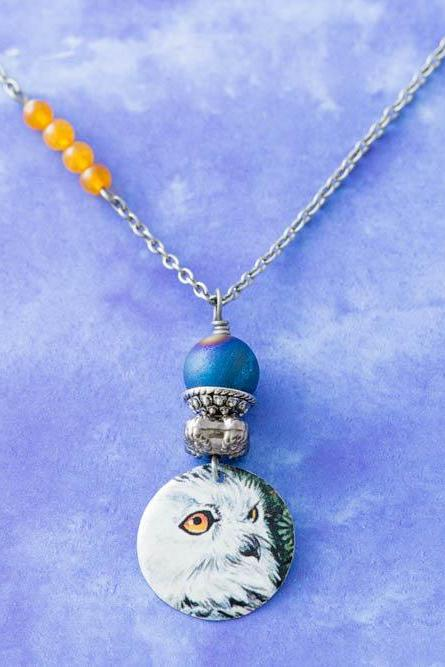 White Owl Vintage Tin Pendant Asymmetrical Necklace with Blue Druzy Agate and Orange Beads Antique Silver Chain Owl Jewelry