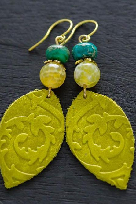 Green Leather Leaf Earrings with Yellow and Turquoise Beads, Leather Leaf Earrings, Leather Jewelry, Boho Chic Jewelry