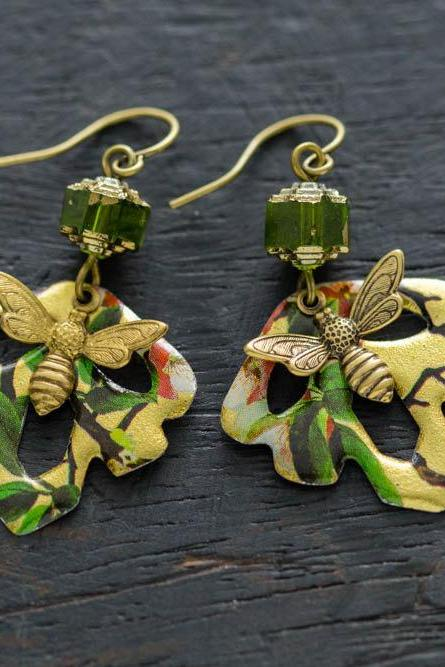Colorful Vintage Tin Dangle Leaf and Bumble Bee Earrings with Green Glass Beads and Antique Brass Findings, Bumble Bee Jewelry.