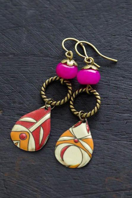 Pink and Orange Drop Earrings with Vintage Tin Teardrops, Orange Teardrop Earrings, Boho Chic Jewelry